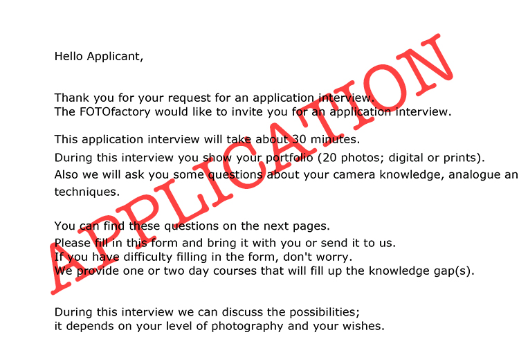 Application @ the FOTOfactory